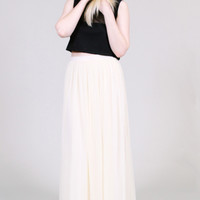 Sheer white maxi skirt - high waist