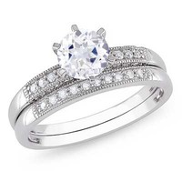 6.5mm Lab-Created White Sapphire and 1/3 CT. T.W. Diamond Bridal Set in 10K White Gold - View All Rings - Zales