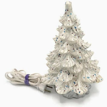 "10"" White Ceramic Table Top Christmas Tree 1970's Glitter And Star Confetti Lighted"