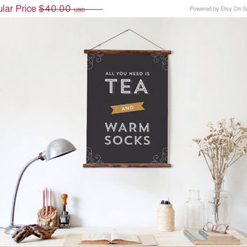 15% OFF SALE Typography Print, Quote Print, Tea Print, Black Gold, Warm Socks, Wall Decor, Cozy Print- Tea and Socks (12x18)