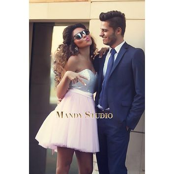 Newest Cheap Short Prom Dresses Top Light Pink Sequins Tulle Cocktail Dresses With Back Bow Handmade
