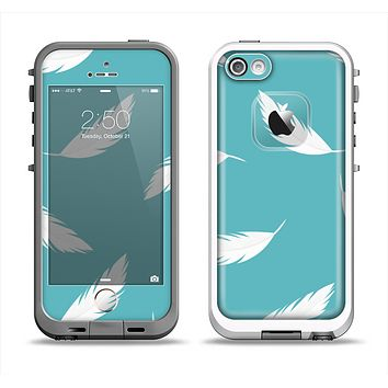 The Simple White Feathered Blue Apple iPhone 5-5s LifeProof Fre Case Skin Set
