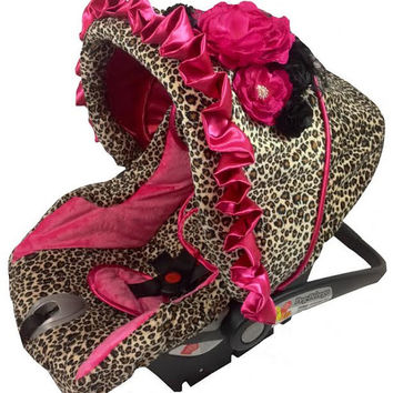 Custom Infant Car Seat Cover, Leopard & Hot Pink Minky, Hot Pink Satin Ruffle, Baby Girl Car Seat Cover, Infant Car Seat Replacement Cover