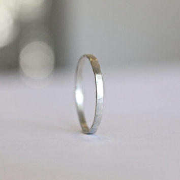 Signature Stacking Ring - 14k Gold Fill or Sterling Silver - Skinny Ring - Textured Ring - Hand Forged - Hammered Ring - Simple Silver Ring