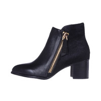 Black Zip Ankle Boots With Ponyskin - Choies.com