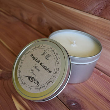 Lemon Ginger - Aromatherapy Soy Candle - Vitalizing Fresh Aroma - Hand Poured - 8 oz. Tin Container - Baby/Bridal Shower Favor - Gift