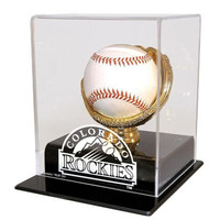 Colorado Rockies MLB Single Baseball Gold Glove Display