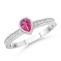 14K White Gold Pear Pink Sapphire and Round Diamond Ring - SR0749PS