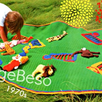 Afghan Crochet PATTERN Vintage 70s Afghan Circus Crochet Pattern Wagons Bear Tiger Monkey Zebra Clown Giraffe Elephant Instant Download PDF