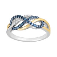10k Two Tone Gold 1/3-ct. T.W. Blue & White Diamond Infinity Ring