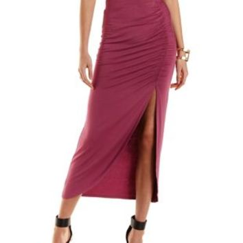 Mauve Ruched Tulip Slit Maxi Skirt by Charlotte Russe