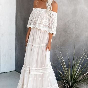 Chic White Flower Child Off The Shoulder Lace Maxi Dress