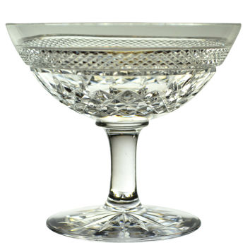 2 Cut Glass Champagne Saucers English 1920s