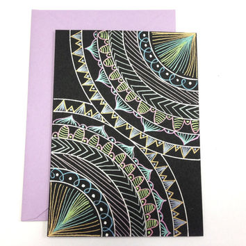 Mandala Art Greeting Card and envelope- Handmade Card - Christmas Card- Holiday gift - Present
