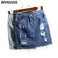 BIVIGAOS Summer Women's High Waist Skirts Hole Ripped Skirts Washed Denim Skirt Jeans Mini Short Skirts For Women Saia Jeans