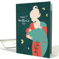 Happy 1st Mother's Day with Mother and Baby card
