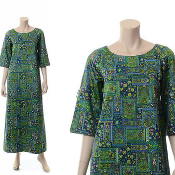 Vintage 60s 70s Malihini Mod Hawaiian Dress 1960s 1970s Designers Collection Hawaii Polynesian Luau Hippie Boho Tiki Caftan