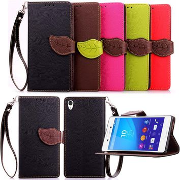 For Sony Xperia M2 M4 Aqua M5 Luxury Leather Cover Flip Wallet Phone Case With Leaves Buckle And Lanyard Mobile Phone Shell