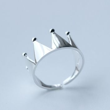 Personalized fashion crown 925 sterling silver opening ring , a perfect gift