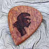 Afzelia Xylay Guitar Pick - Handmade Laser Engraved 2-Sided Design - Premium Wood Guitar Pick - Jimi Hendrix Tribute