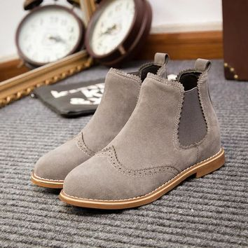 Ankle Flat Heels Suede Leather Brogue Cut outs Slip on Boots