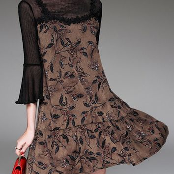 Casual Ruffled Hem Hollow Out Printed Bell Sleeve Shift Dress