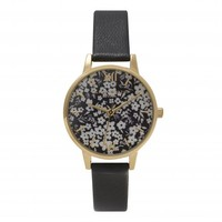 MONOCHROME DITSY FLORAL BLACK AND GOLD