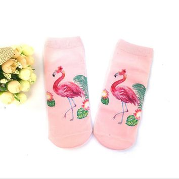 Red Flamingo 1 Pair Ankle Socks Low Cut His-And-Hers Harajuku Casual Fashion New