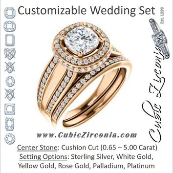 CZ Wedding Set, featuring The Deena engagement ring (Customizable Halo-style Cushion Cut with Under-halo & Ultrawide Band)