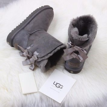 Sale Ugg 1016225 Ribbon Bow Gray Classic Bailey Bow II Boot Snow Boots