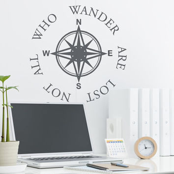 Not All Who Wander Are Lost  J R Tolkien Quote Wall Decal with Compass Rose