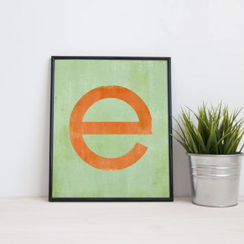 Letter E, monogram, 8x10, A3, digital download, typography, printable home decor, poster mint orange grunge instant download modern wall art