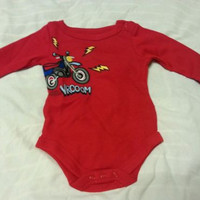 Boys Creeper Suit Sz 6-9M Baby Infant Kids 1-Piece Motorcycle Red
