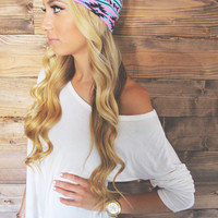 Turban Headband -- Blue/Pink Tribal
