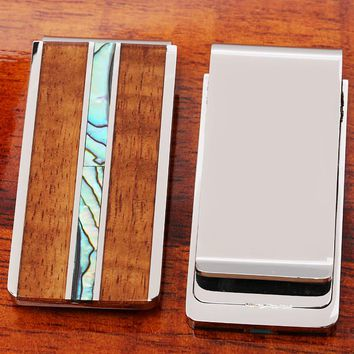 Koa Wood Center Abalone Inlay Stainless Steel Made Money Clip