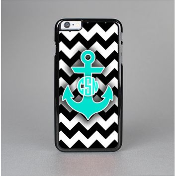 The Teal Green Monogram Anchor on Black & White Chevron Skin-Sert Case for the Apple iPhone 6