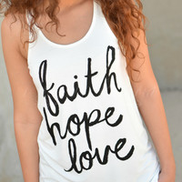 FAITH HOPE LOVE TANK - WHITE