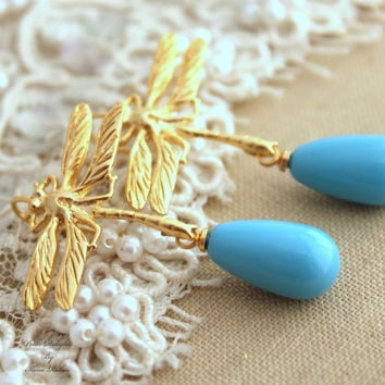 Gold Dragonfly Blue Turquoise pearl Classic elegant chic earrings - 14K Gold plated earrings with Majorica perfect teardrop pearl.