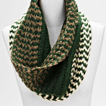 Ombre Two Toned infinity Knitted Fashion Scarf Olive Gold