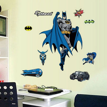 Home decoration environmental protection wallpaper Cartoon wall sticker Batman mobile creative combination bathroom living room bedroom decorative  3D wall stickers (Size: 1) = 1927793988
