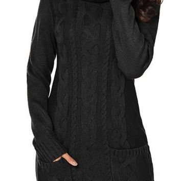 Chic Black Cowl Neck Pockets Cable Knit Sweater Dress