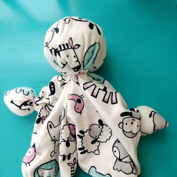 "Handmade Baby Doll - Soothing Toy - Lovey Blanket - Soft Doll - Pink Baby Animal - White Cotton Fabric - Cotton Flannel Fabric. 11""-12"" Tall"