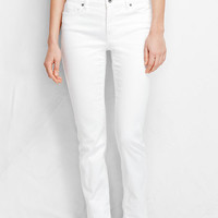 Women's Fit 2 Mid Rise Slim Leg Jeans - White from Lands' End