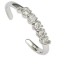 925 Sterling Silver Adjustable Toe Ring Single Row CZ Stones