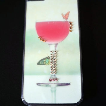 Wineglass iPhone 5 case with Swarovski Crystals, Kawaii iPhone 5 case,Crystals iPhone 5 case