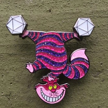 Odesza in Wonderland Glitter Version Cheshire Cat Double Spinner Glow Festival Lapel Hat Pin