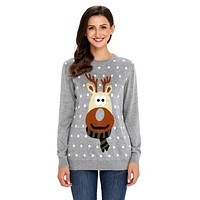 Grey Christmas Reindeer Sweater