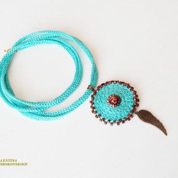 Bohemian Necklace.Crochet Necklace. Simple, beautiful and lightweight. Abstract Crochet Necklace. Art Jewelry