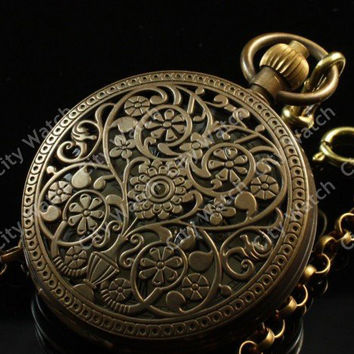 Steampunk Watch--Exquisite engraved Pocket Watch Necklace Vintage Jewelry-Pendant Necklace-mechanical watch