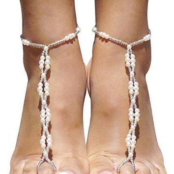 2pcs Pearl Ankle Chain Bracelet Beach Wedding Foot Jewelry Barefoot Sandal Anklet Chain